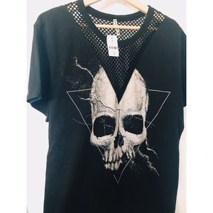 NWT RARE LF Emma & Sam Skull Mesh Detailed Top